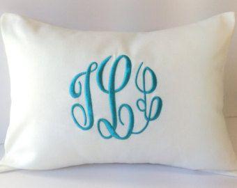 Funda de almohada de boda monograma. Natural lino por SewGracious