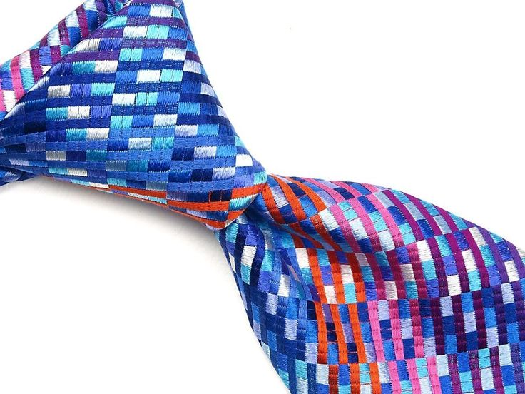 VIBRANT XMI Silk Neck Tie Blue Orange Hues Pixelated BRIGHT Woven Color EUC 3.75 #XMI #NeckTie