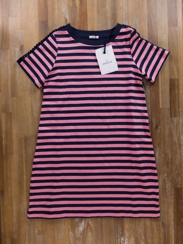 Cotton striped T-shirt dress from Moncler featuring a round neck, short sleeves, a logo to the left arm, a striped print, a t-shirt silhouette, a straight hem and a short length. Fabric: 100% cotton.   eBay!