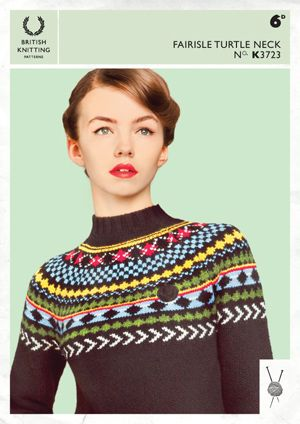Free Fred Perry knitting patterns - Fairisle Turtle Neck