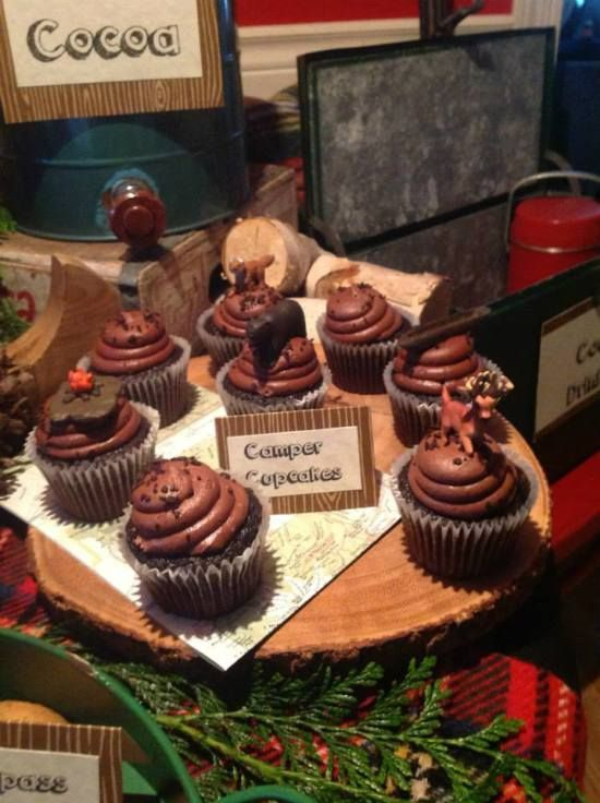 Camping Themed Bridal Shower camper cupcakes