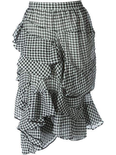 Shop Chloé gingham check asymmetric skirt in Stefania Mode from the world's best independent boutiques at farfetch.com. Over 1000 designers from 300 boutiques in one website.