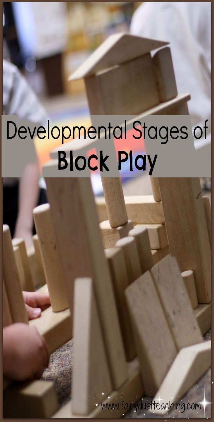 Learn more about the Developmental Stages of Block Play at fairydustteaching....