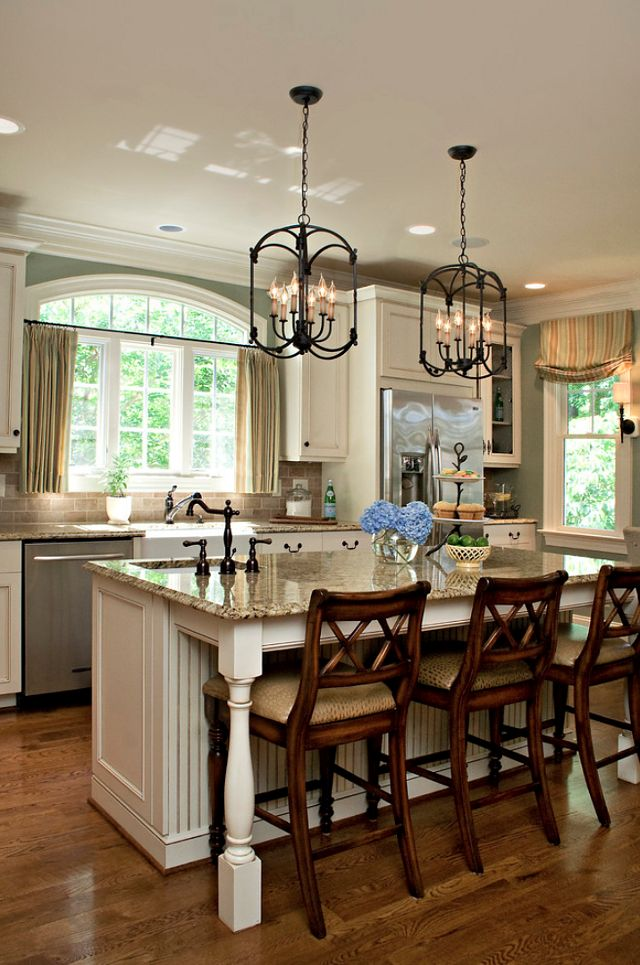 White traditional kitchen. Dark cabinet pulls. Love the lanterns.