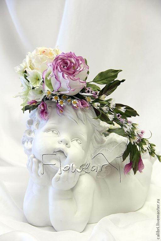 handmade wreath with silk flowers цветы из шелка ручной работы - Лилия Марченко