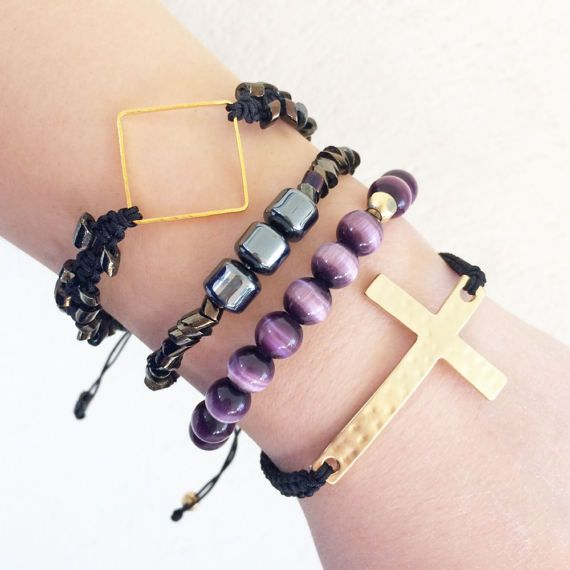 greek jewelry big gold cross bracelet macrame bracelet