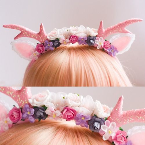 Floral Deer Headband-Seems perfect for spring when the baby deers are frolicking in the meadow :P