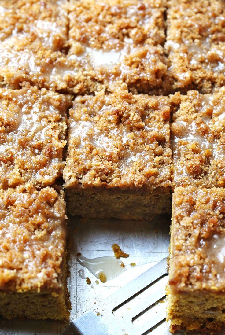 Cinnamon Streusel Pumpkin Coffee Cake with Maple Glaze | #pumpkin #cake