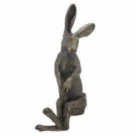 Primrose Shelf-Sitting Bronze Hare