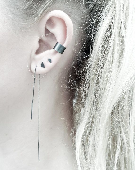 Chain Earring Minimalist Ear Thread Tattoos Pinterest Jewelry Earrings And