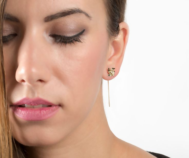 Pinwheel earrings DIAMOND, SOLID GOLD, women earrings, yellow gold, ear jacket, gold and diamonds, gold earrings, minimal jewelry windmill by largentolab on Etsy
