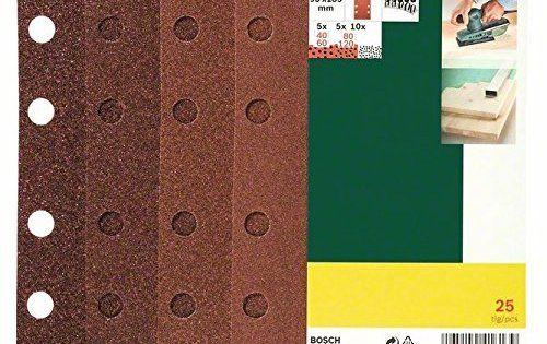 Bosch 2607019495 Lot de feuilles abrasives pour Ponceuse vibrante 8 trous 93 x 185 mm Grain 40-120 25 pièces: Grain 40-120 93 x 185 mm Cet…