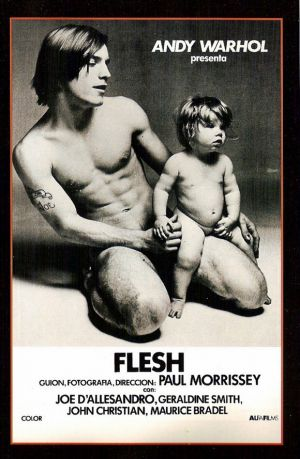 "Andy Warhol's Flesh (Spanish) 11x17 Movie Poster (1968). CAST: Joe Dallesandro, Geraldine Smith, Patti D'Arbanville, Candy Darling, Jackie Curtis; DIRECTED BY: Paul Morrissey;  Features:    11"" x 17""   Packaged with care - ships in sturdy reinforced packing material   Made in the USA  SHIPS IN 1-3 DAYS"