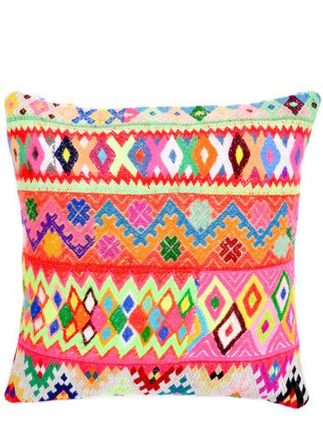 Peruvian Embroidered Pillow Cover. Love.