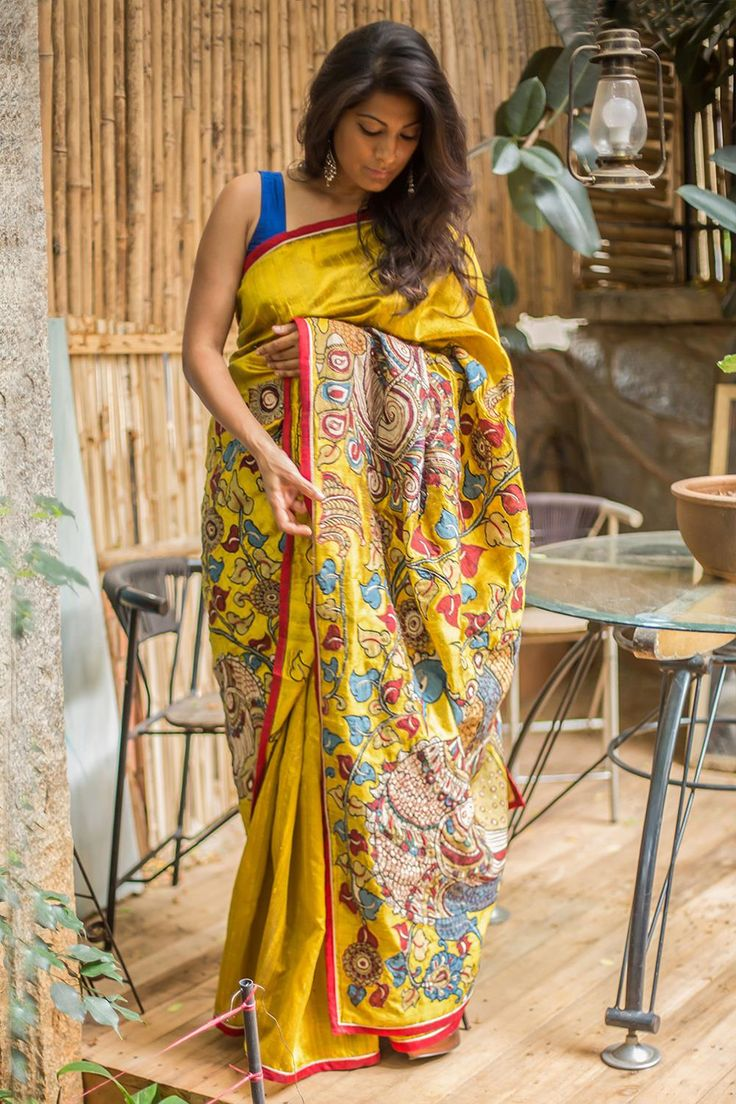 Our exact mustard raw silk sellout piece, this time with a flamboyant peacock…