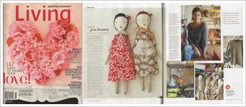 Jess Brown rag dolls with garments out of recycled fabric and trims