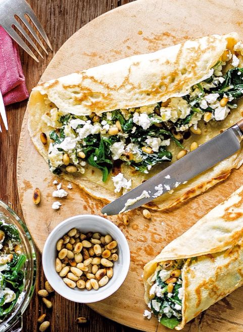This delicious savoury spin on pancakes, with spinach, ricotta and pine nuts, is an exciting new way to dress up your pancakes Mediterranean style.