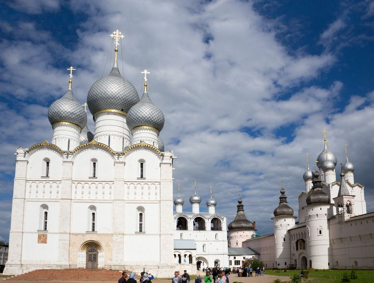 Pilgrimage - Assumption Cathedral with belfry, Holy Gates and the Resurrection Church with belfry on the cathedral Square of the the Kremlin of the Rostov Veliky (Rostov the Great)  on a sunny day. Golden Ring of Russia.