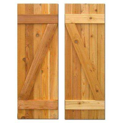 15 in. x 48 in. Board-N-Batten Baton Z Shutters Pair Natural Cedar