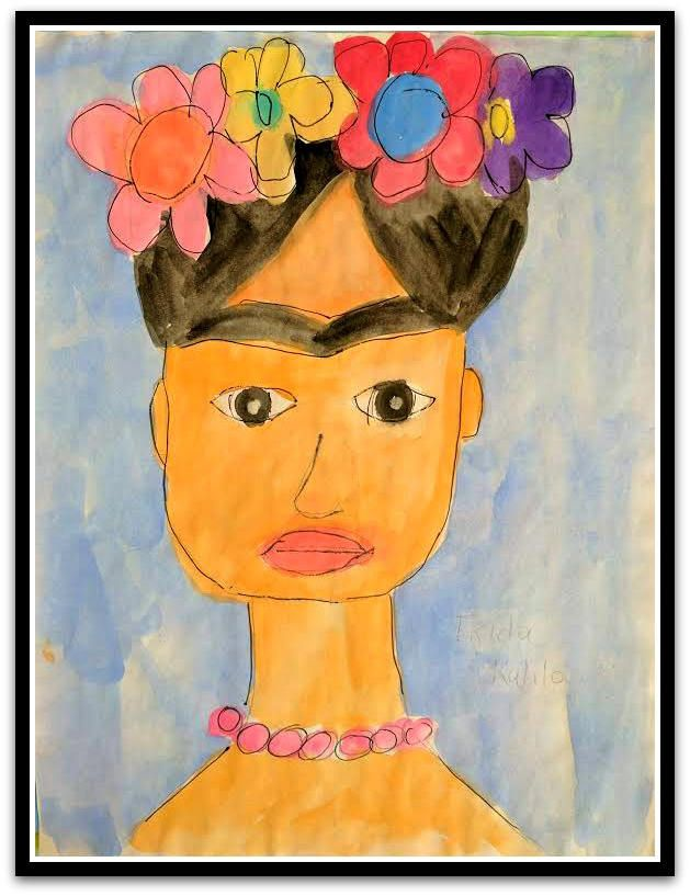 "Frida Kahlo Folk Art Happy Art Kids Art 8.5"" x 11"" Watercolor Paint on Paper Original whimsical Nursery Art Art by RobinNorgren on Etsy"
