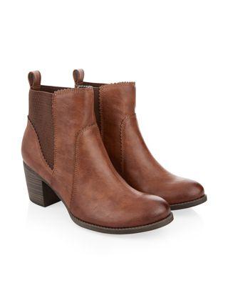 MIRANDA HEELED CHELSEA BOOT 1421107738 £59.00 The ultimate style staple, our Miranda tan heeled Chelsea boots have sturdy block heels plus elasticated panels and pull tab