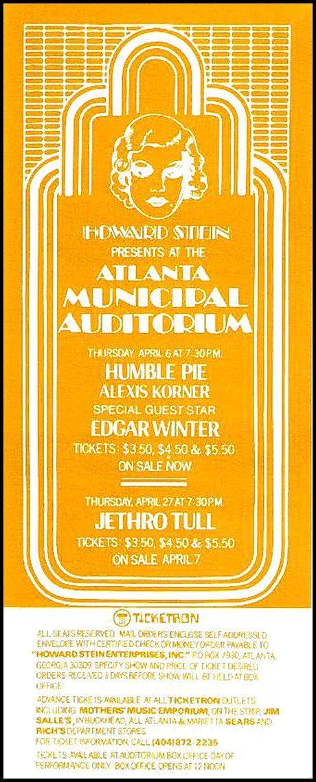 Humble Pie, Alexis Korner, Edgar Winter, Jethro Tull - Atlanta Municipal Auditorium 04.27.72 flyer