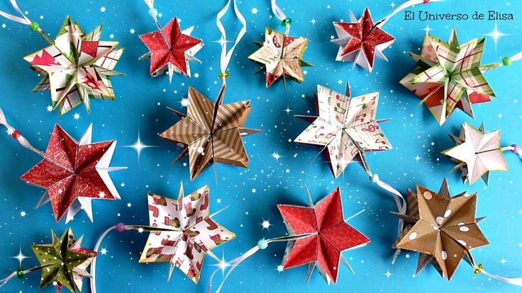 Decora tu Árbol de Navidad con Estrellas de Papel Scrapbook, Manualidades para Navidad