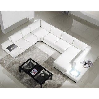 modern white leather sectional sofa with builtin light