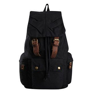Hynes Eagle Retro Style Leather Straps Travel Canvas Backpack Camping Bag Book bag - Portable Saunas #camping #spring #summer #backpacks #retro #leatherwork