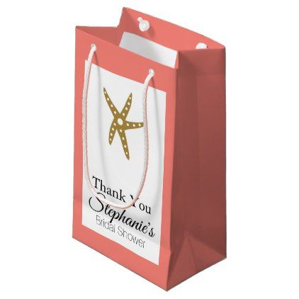 Gold Starfish Nautical with Coral Bridal Shower Small Gift Bag - bridal shower gifts ideas wedding bride