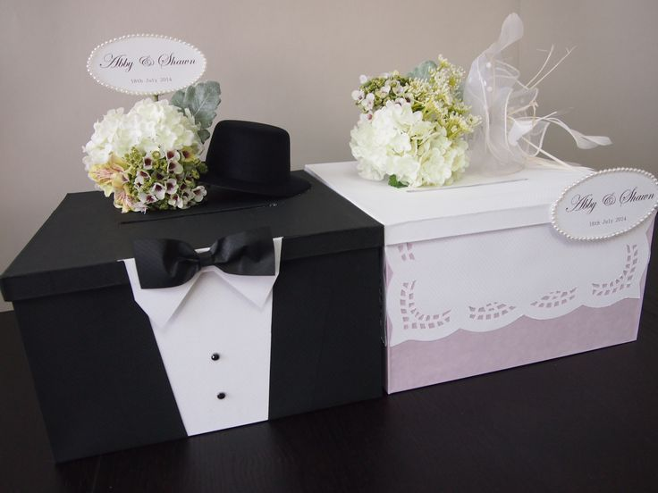 Pegeo Wedding Money & Gift Cards Box Set for Bride & Groom
