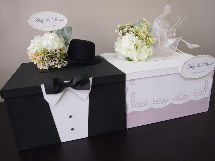 Pegeo Wedding Money & Gift Cards Box Set for Bride & Groom