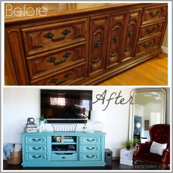 From An Outdated Dresser Into A TV Console