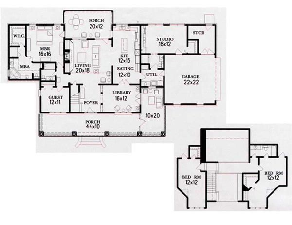 Country Ranch In Law Suite House Plans Home Design 310 01 RS