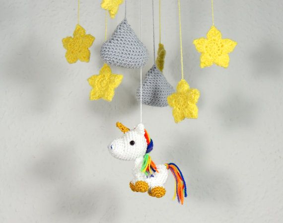 Baby Mobile Rainbow Unicorn Baby Shower Gift by SimplyStitcheduk