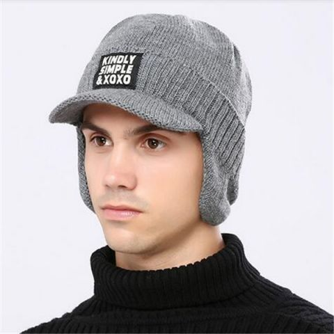 65d9a7b3300 Mens peaked beanie with bill fleece visor beanie hat winter wear ...