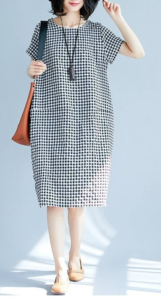 Women loose fit plus over size pocket dress checkered tunic casual fashion chic