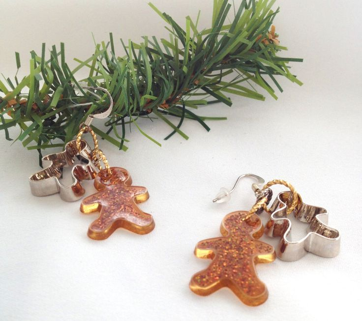 Gingerbread Man Cookie Earrings Christmas Baking  Cookie Cutter Earrings by junquete on Etsy