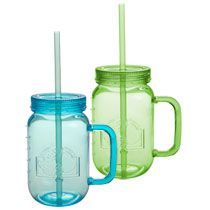 Bulk Plastic Jar Shaped Cups With Handles And Straws 19