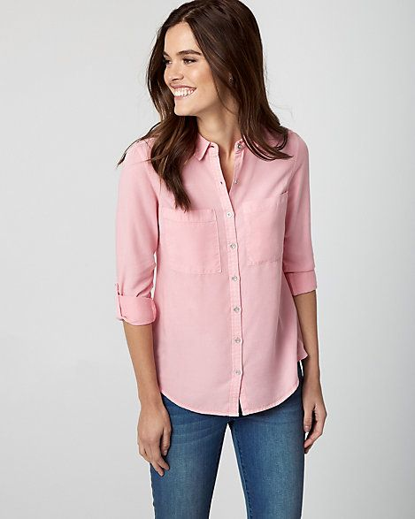 Pink Lyocell Button-Front Blouse - This relaxed blouse features adjustable roll-up sleeves and patch pockets at the chest. #affiliate, #pinktop, #pinkblouse, #officewear, #buttondownshirt