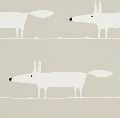 Mr Fox Snow (110845) - Scion Wallpapers - A fun and light-hearted design with a friendly fox, in a large repeating motif. Shown here in snow. Other colourways are available. Please request a sample for a true colour match. Paste-the-wall product.
