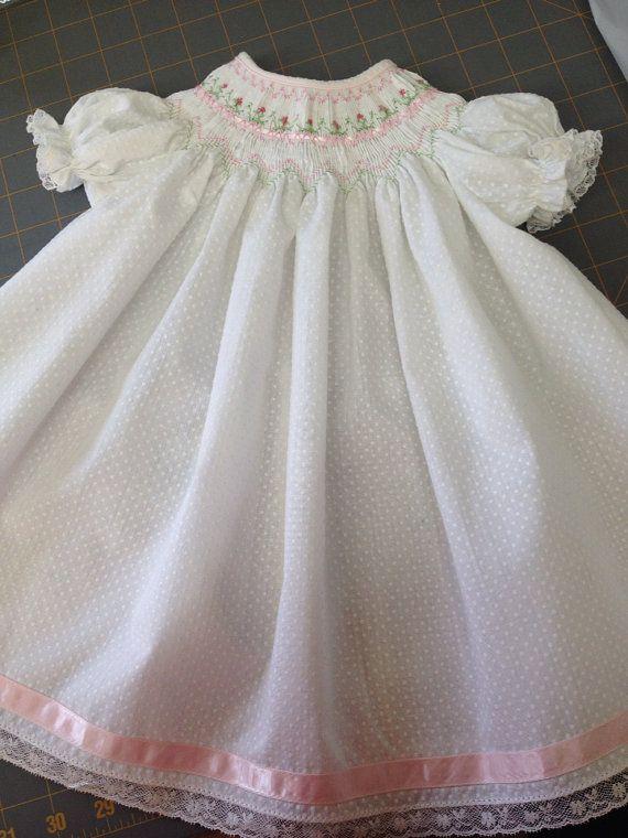 03 mo White Dotted Swiss Smocked dress with by SmockingByGinaBug, $65.00
