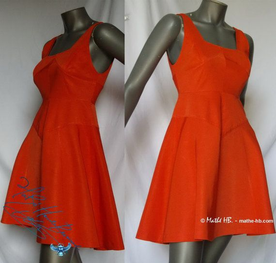 Kleid rot Koralle schneidet Trapez Grösse XS Sommer Fest