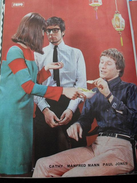 Cathy McGowan, Manfred Mann, Paul Jones from Rave magazine December 1964.  I find it funny the way Manfred is staring at Cathy!
