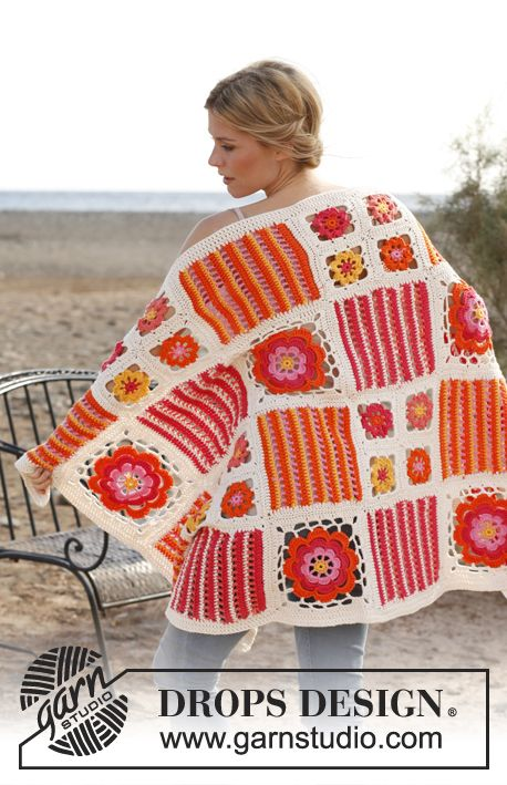 """Crochet DROPS blanket with different squares in """"Paris"""". Free pattern by DROPS Design."""