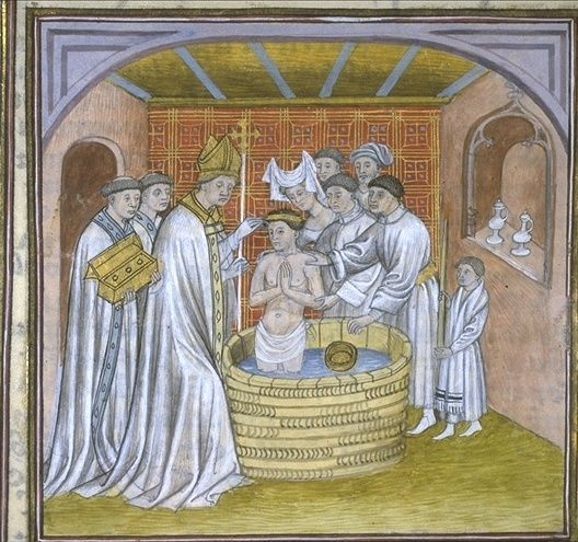 Rollo of Normandy (c.846-c.932) 14th century illustration the baptism of Rollo