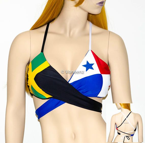 PADDED Jamaican Flag and Panama Flag Wrap Around Top Body