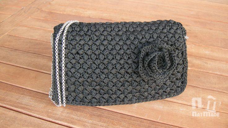 Crochet handbag,Evening purse,Luxury bag,Handmade handbag,black handbag by NatmadeCrafts on Etsy