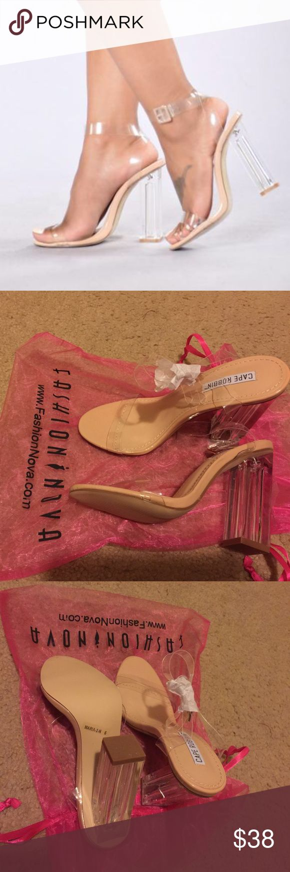 Fashion Nova Nude Glass Slipper Brand new nude glass slipper size 6. 3 1/2 inch clear heel. Ordered off fashion nova. Very fashionable and currently in trend! Fashion Nova Shoes Heels