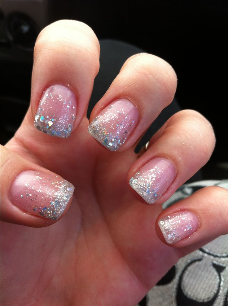 Ombré solar nails in silver sparkle. Love!